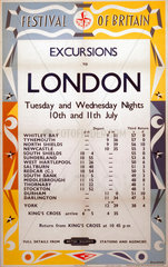 'Festival of Britain - Excursions to London'  BR (NER) poster  1951.
