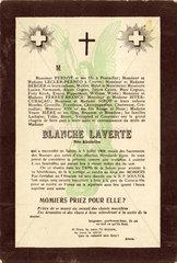 Blanche Laverte mock mourning card  c 1914.