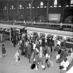 Passengers boarding the 'Hook Continental' train  London  4 May 1971.