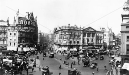 Picadilly Circus in London  c 1920s.