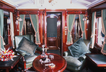 Smoking room of a royal carriage  early 20th century.