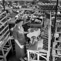 Women making electric motors  for vacuum cleaners  Hoover  1959.