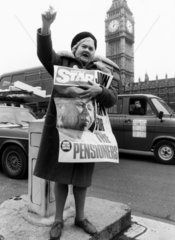 Maud Gould  OAPs' lobby  London  March 1981.