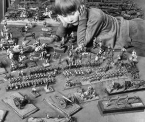 Boy with toy soldiers  January 1972.