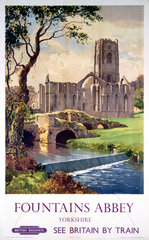 'Fountains Abbey  Yorkshire'  BR (NER) poster  1956.