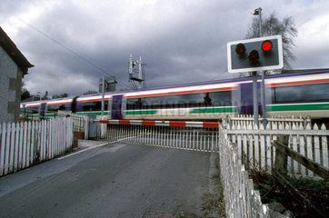 A level crossing.