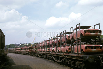 New cars on a freight train at Luton  Bedfordshire  1965.
