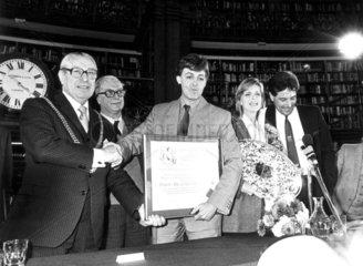 Paul and Linda McCartney  Picton Library  Liverpool  November 1984.