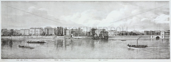 North Bank of the Thames  London  1825.