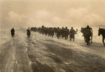 German troops marching in the snow  Second World War  1940s.