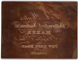 A copper plate used for instrument maker A Yeates's trade card  c 1800s.