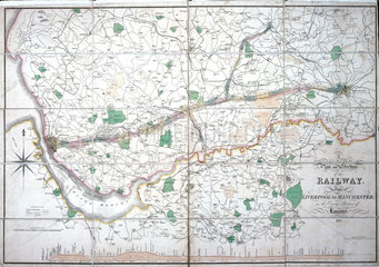 Stephenson's map of the Liverpool & Manchester Railway  c 1824-1830.