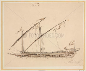 Side view of a felucca  early 19th century.