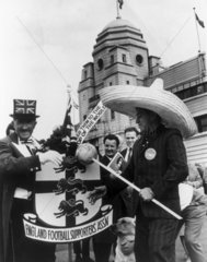 Mexico and England supporters outside Wembley Stadium  11 July 1966.