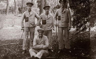 Wounded British soldiers in hospital grounds  c 1915-1918.