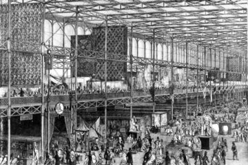 Crystal Palace  Exhibition  East nave  Hyde Park  London  1851.