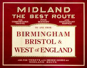 'Midland - The Best Route'  Midland Railway poster  c 1920s.