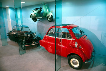 Bubble cars and Vespa scooter  Science Museum  June 2000.