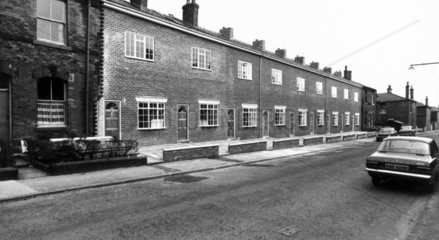 Converted houses in Pine Street  Bury  Lancashire  April 1976.