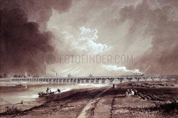 Shoreham Bridge over the River Adur  West Sussex  c 1850.