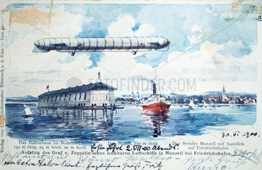 First flight of the Zeppelin on the Bodensee  Germany  2 July 1900.
