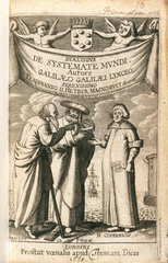 Frontispiece of 'Cosmic System' by Galileo  1663.