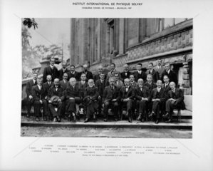 Group photograph from the Solvay Physics Conference  Brussels  1927.