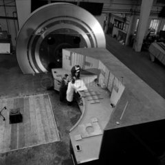 Engineers with a large polar disc set up  Grubb Parsons Telescopes  1962.