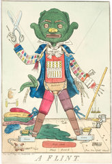 'A Flint': Personification of a tailor at work made using tailoring artefacts  1811.