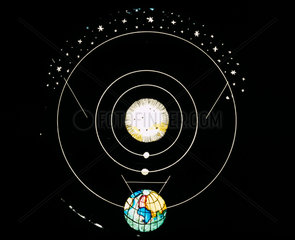 Motion of Venus magic lantern slide with revolving movement  19th century.