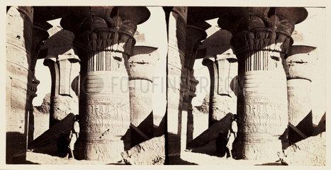 'Koum Ombos - Columns with Palm-leaf Papyrus Capitals'  1859.