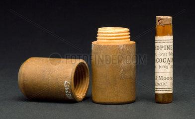 Glass phial containing atropine and cocaine  1880-1920.