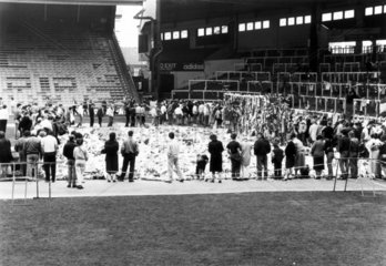 Sea of flowers  Anfield  Liverpool  April 1989.