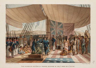 Baptism of the king's prime minister  Sandwich Islands  1817-1820.