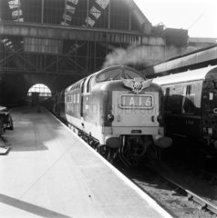 Deltic locomotive with 'Flying Scotsman' train at King's Cross  9 March 1964.