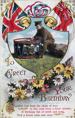 Birthday postcard sent from the front  1914-1918.