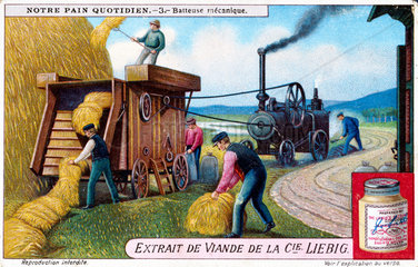 Mechanical threshing machine  Liebig trade card  c 1910-1920.