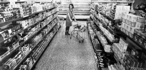 Woman in a supermarket  April 1968.
