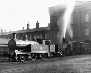 Fire Brigade train at Horwich Works  Greater Manchester  December 1915.