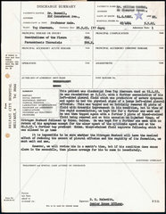 Hospital discharge summary for lung cancer patient  1965.