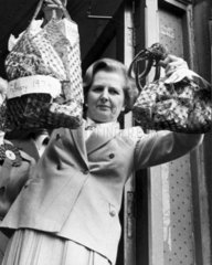 Margaret Thatcher with shopping  c 1979.