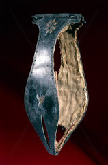Iron chastity belt lined with silk  possibly 16th century.