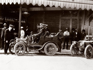 Duke of Connaught at the wheel of an early Rolls-Royce car  1904.