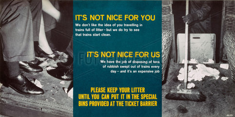 'It's not nice for you  It's not nice for us  Please keep your litter'  c 1960s.