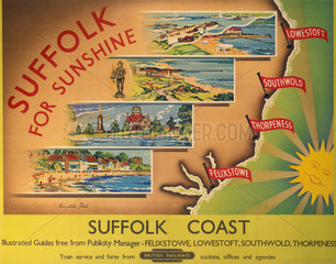 'Suffolk for Sunshine'  BR poster  after 1948.