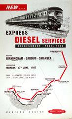 'New Express Diesel Services between Birmingham and Swansea'  1957.