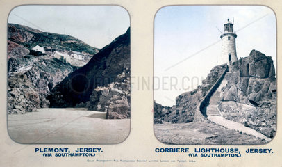 Plemont  and Corbiere Lighthouse  Jersey  1910s.