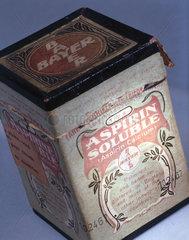 Medicine carton containing soluble aspirin powder  c 1900.