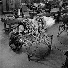 Constructing Viper jet engines at Bristol Siddeley  1959.