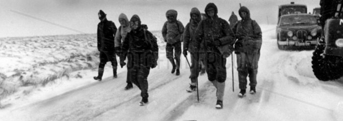 Searchers for missing scouts  Snake Pass  Derbyshire  March 1964.